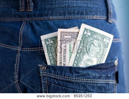 One Dollars Banknotes In A Pocket Of Jeans
