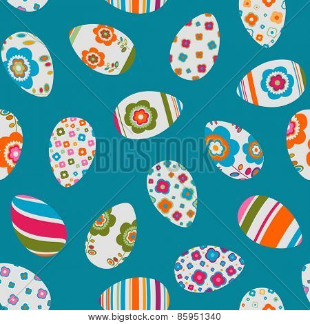 colorful decorated easter eggs seamless pattern