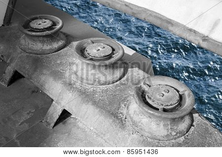 Old Grungy Rollers For Mooring Ropes, Industrial Ship