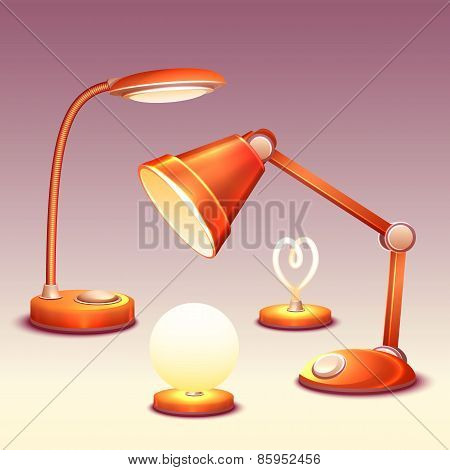 Vector set of realistic office reading-lamps