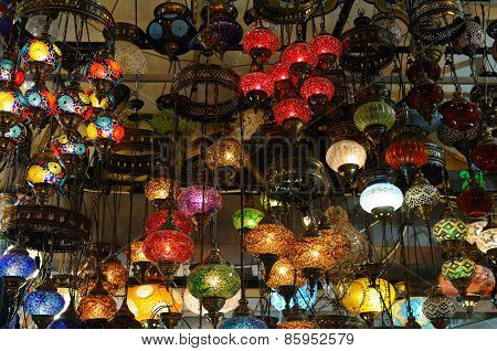 Hanging Lanterns Inside The Grand Bazaar In Istanbul, Turkey