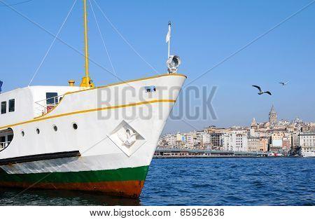 Cruise Ferries In Eminonu Port Near Galata Tower And Galata Bridge
