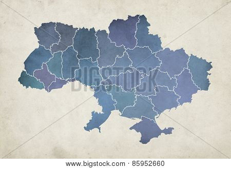 Textured Map Of Administrative Divisions Of Ukraine