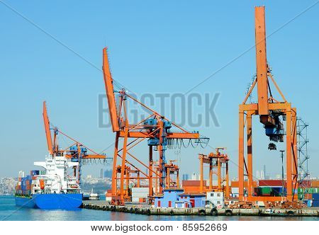 Large Container Ship In A Dock At Port, Haydarpasa, Istanbul, Turkey