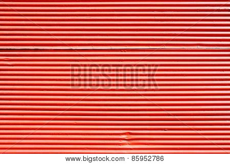 Rolling Door Or Shutter Door Pattern Red Color (new And Clean Surface).