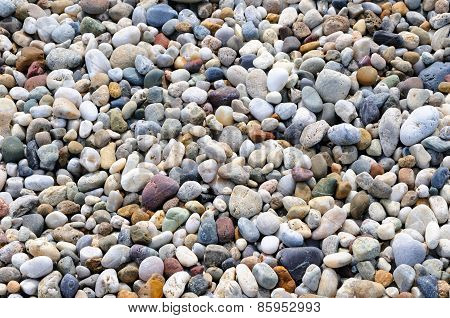 Background Of Round Colored Sea Pebbles, Close-up