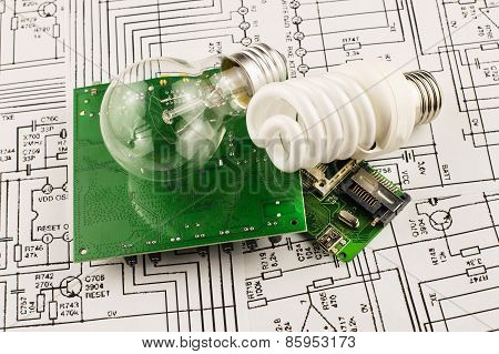 Fluorescent Lamp, Incandescence And Chip
