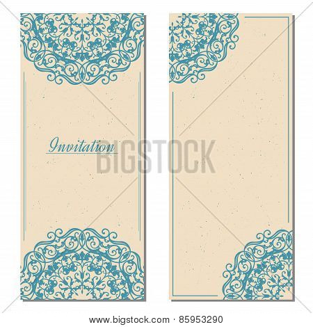 Template of vintage greeting card in eastern style with old paper texture