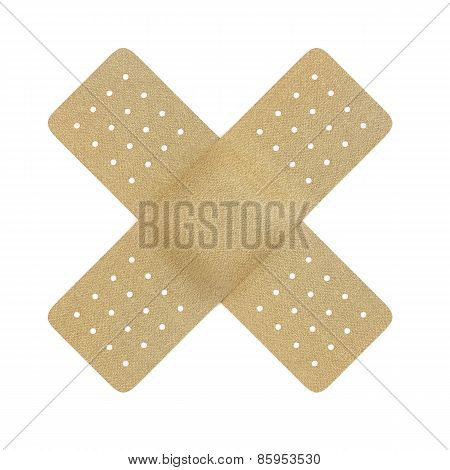 Plaster Cross Isolated Over A White Background