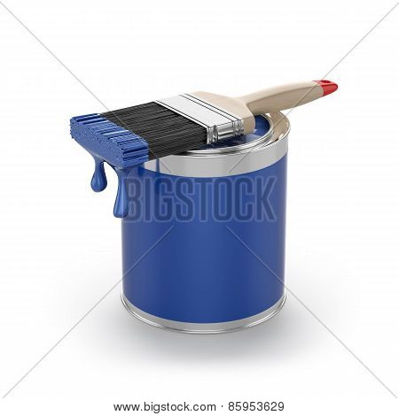 Blue Paint In The Opened Can With Brush. Renovation Concept