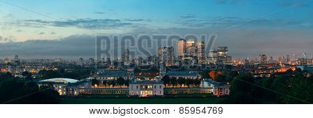 London cityscape at sunset panorama with urban buildings over Thames River