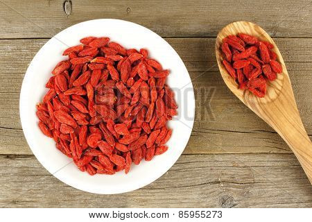 Bowl of goji berries with spoon over wood