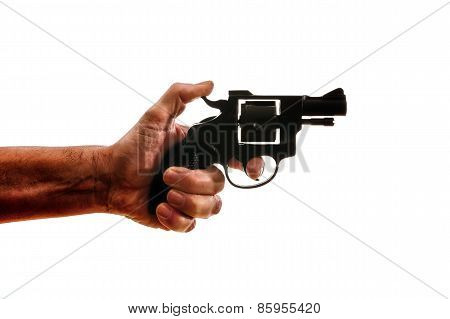Silhouette Of A Mans Hand With A Handgun