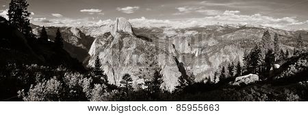Yosemite mountain ridge black and white with waterfall.