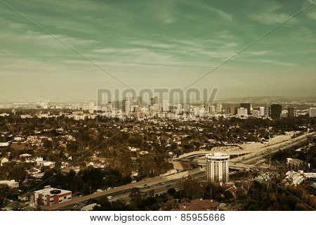 Los Angeles downtown view with highway and urban architectures.