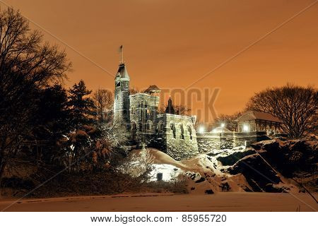 Central Park Belvedere Castle at night in winter in midtown Manhattan New York City