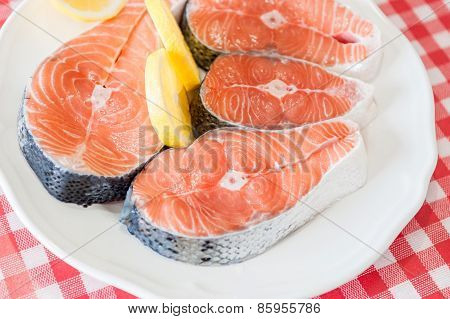 Plate of fresh salmon