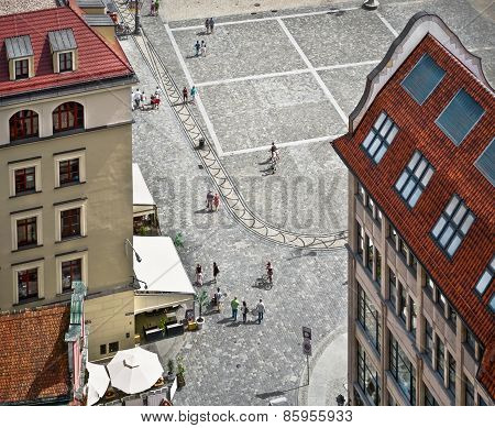 People Walk On The Market Square In Wroclaw, Top View.
