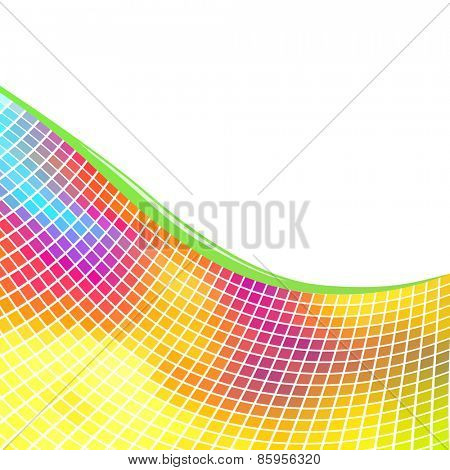 Colorful mosaic background with white copy space.