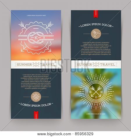 Vector vertical banners with line drawing Nautical and summer travel signs and emblems