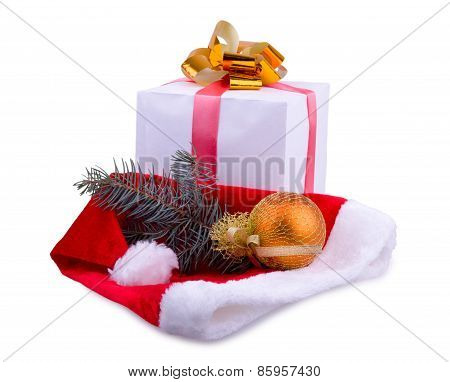 Christmas Gift, Santa`s Cap And A Toy