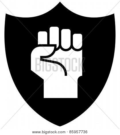 Fist on shield icon