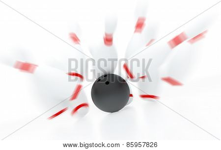Bowling Strike In Motion (3D Render)