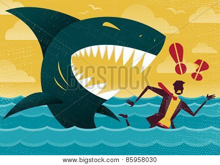 Businessman In Dangerous Shark Attack.