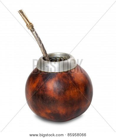 Calabash With Bombilla On White Background