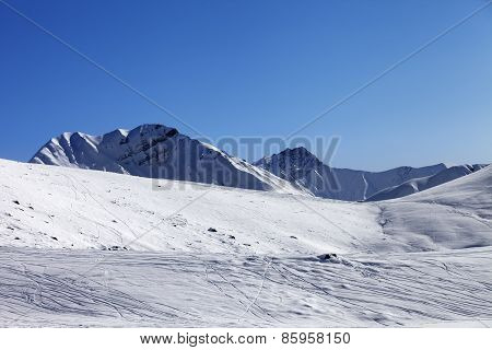 Off Piste Slope At Nice Sunny Morning