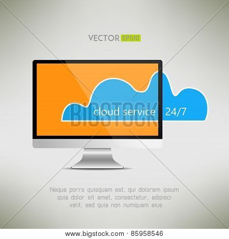 Cloud service on computer screen icon. Twenty-four-hour service concept. Vector illustration