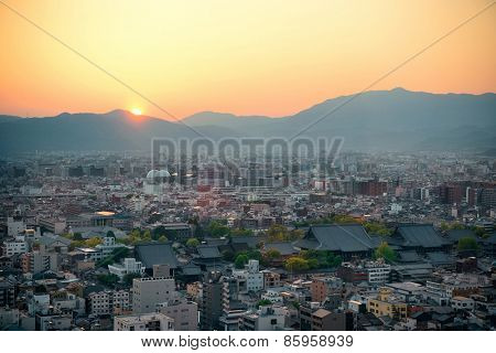 Kyoto city rooftop view from above. Japan.