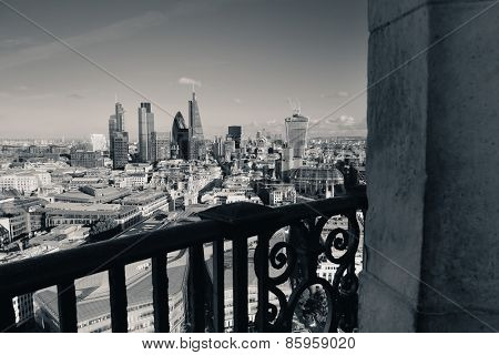 Rooftop view from top of St Pauls Cathedral in London