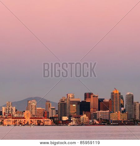 San Diego city skyline and bay at sunset