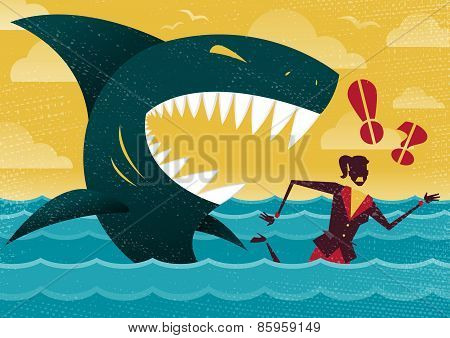 Businesswoman In Dangerous Shark Attack.
