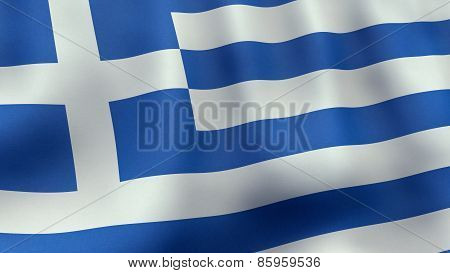 3D rendered waving Greek flag