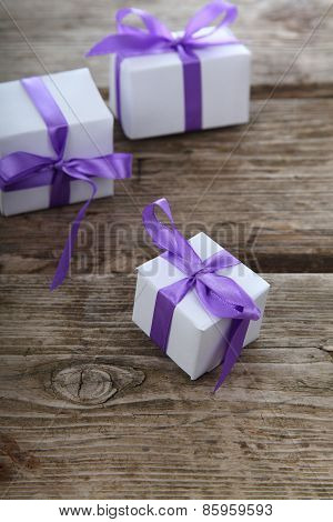Gift Box With Lilac Ribbons