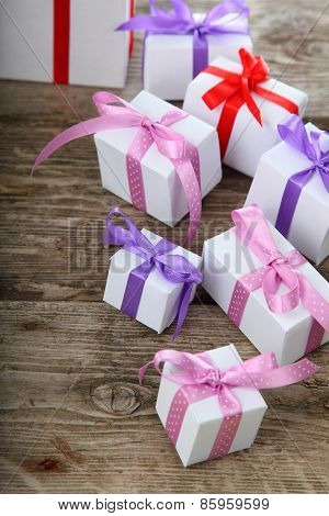 Gift Box With Pink And Lilac Ribbons