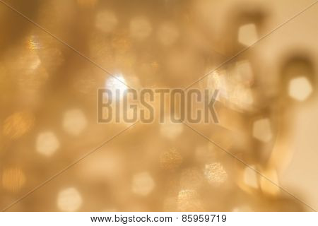 Gold Spring Or Summer Background. Elegant Abstract Background With Bokeh Defocused Lights