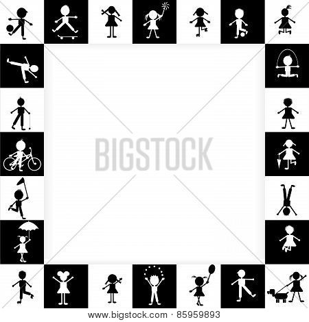 Black And White Frame With Stylized Kids