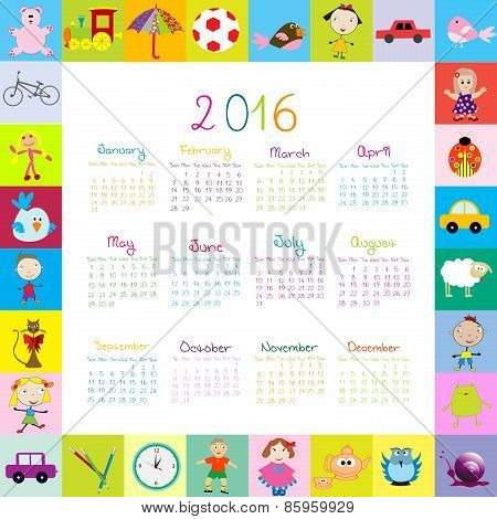 Frame With Cartoon Toys 2016 Calendar