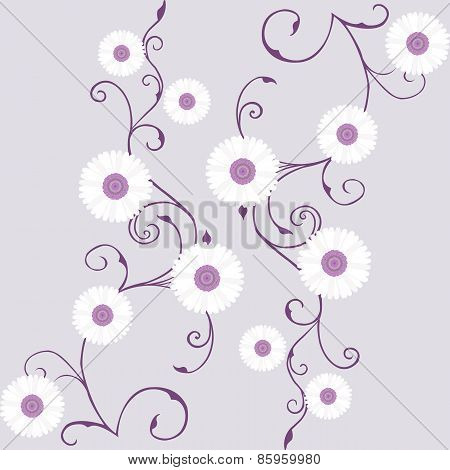 Tapestry With White Gerbera Over Mauve Background