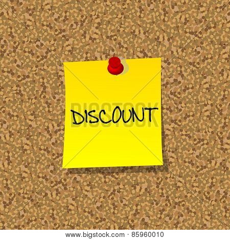 Yellow Stick Note Paper With Word Discount Pinned On Cork Board With Red Pin