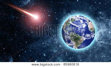 Comet Coming To Blue Planet In Space
