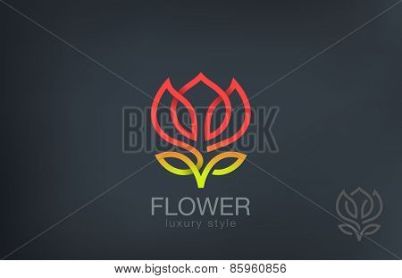 Abstract Flower Logo design vector template line art style. Luxury Cosmetics Trendy Concept logotype icon.