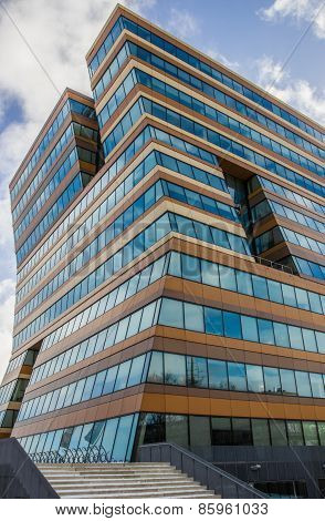 Modern Office Building With Reflecting Windows In Groningen