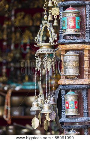Nepalese Prayer Wheels On Swayambhunath Stupa In Kathmandu, Nepal