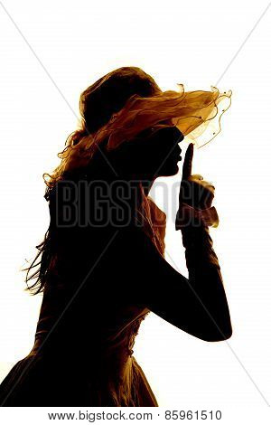 Silhouette Of A Woman In A Dress Gloves Shhh