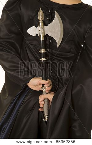 Woman In Black Cloak Body Back With Hatchet