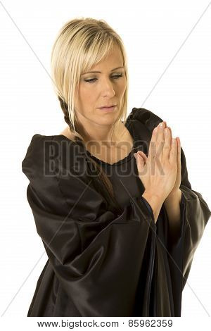Woman In Black Cloak Hands Together Pray